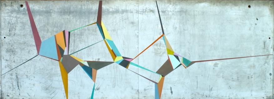 "Signals, 2012. 27x64"" Acrylic on metal panel"