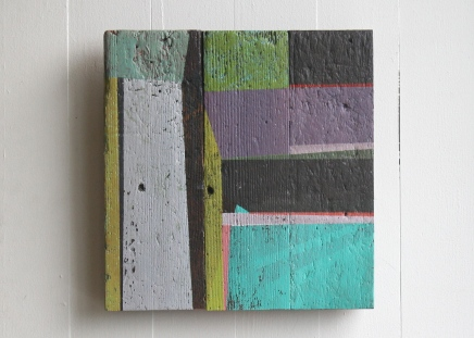 """Stay. 2 2012. 9x11"""" Acrylic on floorboards"""