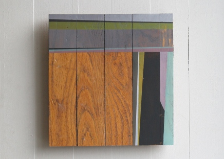 """Stay. 1 2012. 11x11"""" Acrylic on floorboards"""