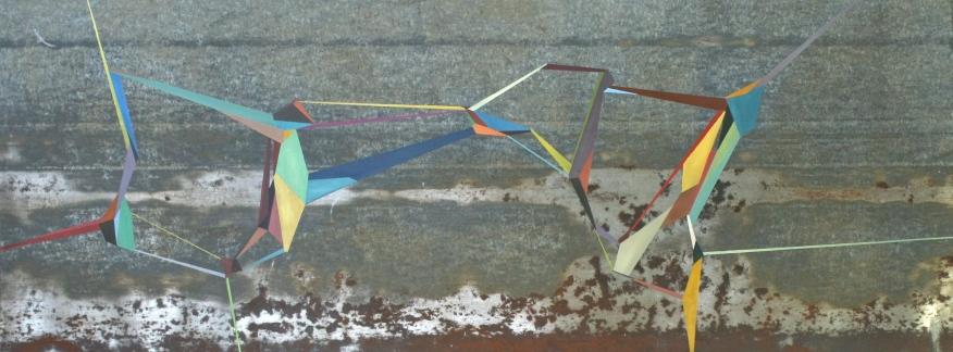 "Warp,2014. 28"" x 50"" Acrylic on metal roofing"