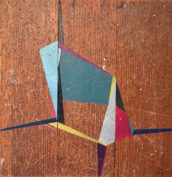 "Ties 2017 7x7"" Acrylic on floorboards"